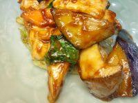 若鶏ササミと米ナス・レタスの中国みそ炒め