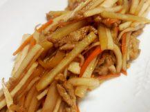シャキシャキ根菜と豚フィレの炒め